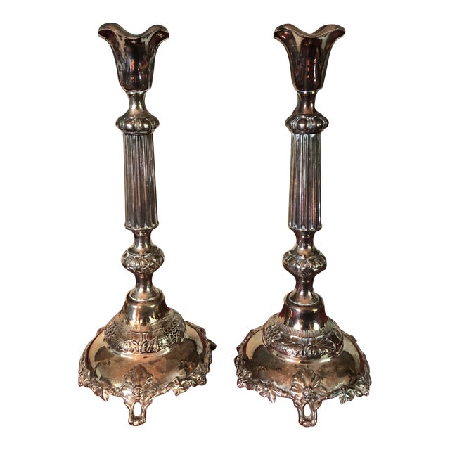 Sterling Judaic Sabbath Candlesticks - a Pair For Sale