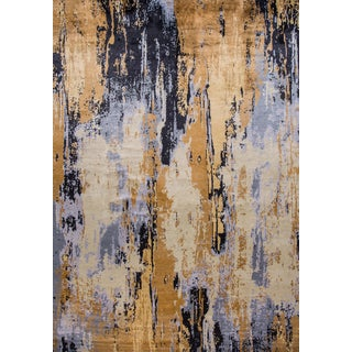 21st Century Modern Abstract Wool & Silk Rug 13 X 17 For Sale