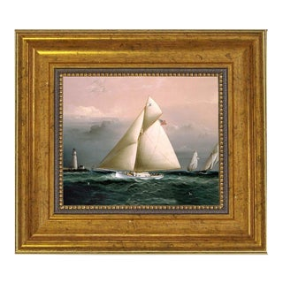 Chiquita Racing Off Boston Lighthouse Framed Oil Painting Print on Canvas For Sale
