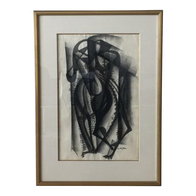 Framed Cubist Charcoal Painting - Image 1 of 8