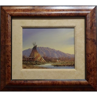 "Mark Geller ""Teepees in an Indian Camp"" Oil Painting For Sale"