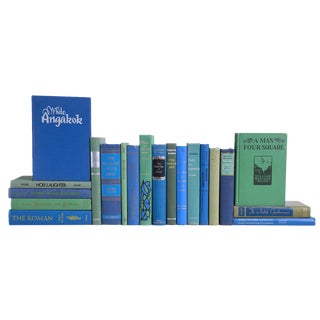 Bright Blue & Green Midcentury Readings, Set of Twenty Decorative Books