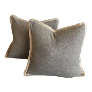 Contemporary Cashmere Gray/Cream Pillows - a Pair