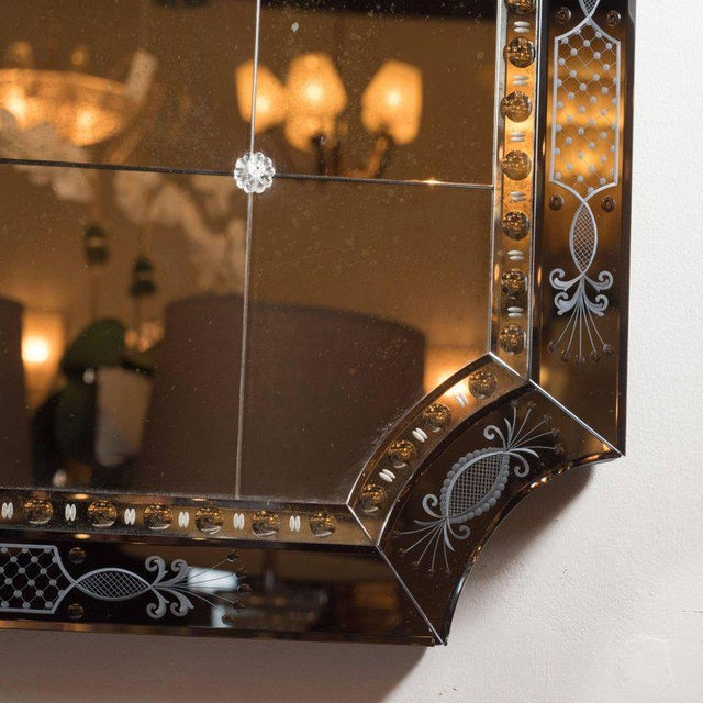 1940s Hollywood Regency/Art Deco Reverse Etched, Beveled & Scalloped Venetian Mirror For Sale - Image 5 of 7