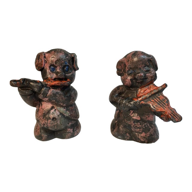 Antique Lead Pig Musician Toys - A Pair - Image 1 of 5