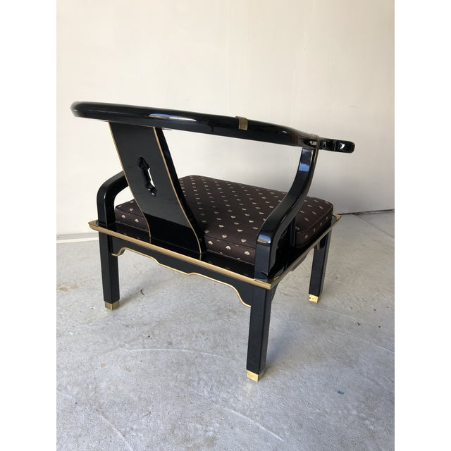 "Asian Style Black Lacquer ""Hickory"" Arm Chair For Sale - Image 10 of 12"