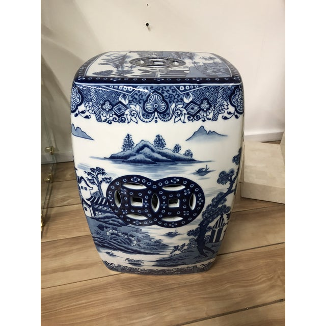 1980s Chinoiserie Blue & White Pagoda Garden Stool For Sale - Image 9 of 9