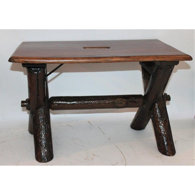 """Stamped old """"Hickory Martinsville, Indiana"""" bench with a cutout carrier on top. It is stamped on underside of the top of..."""