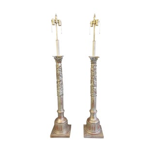 20th Century Silver Gilt Wood Column Floor Lamps - a Pair For Sale