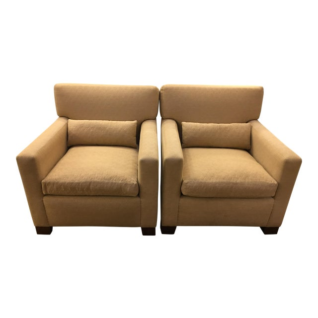 Sutter of Cali Fabric Arm Chairs - A Pair - Image 1 of 6