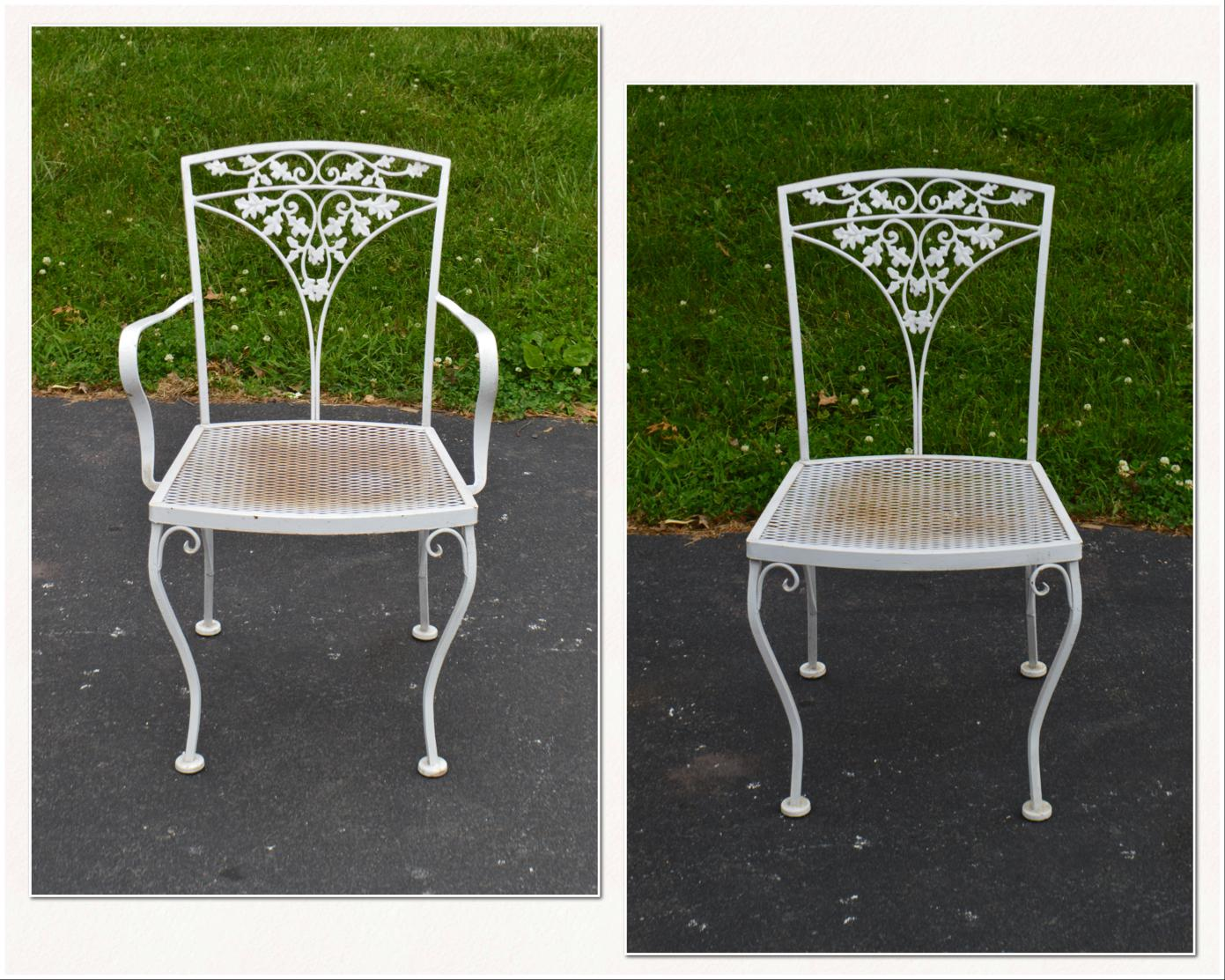 1960s Woodard Ivy Vintage White Wrought Iron Patio Glass Top Table U0026 6  Chair Dining Set