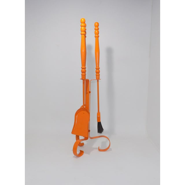 Mid 20th Century Orange Mid Century Modern Fireplace Tool Set For Sale - Image 5 of 7