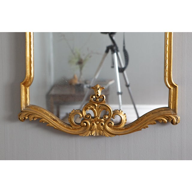19th Century French Louis XVI Style Carved Gilt Classical Mirror For Sale - Image 4 of 7
