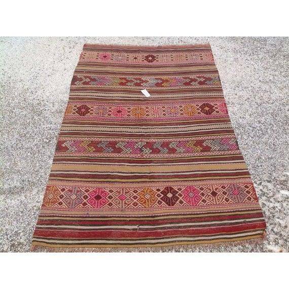 """Vintage Turkish Kilim Rug - 4'5"""" X 6'11"""" - Image 2 of 6"""