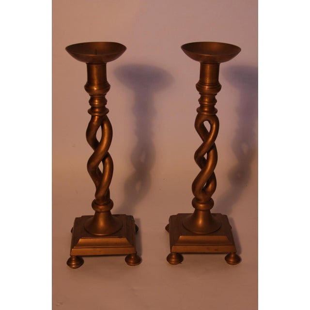 Tall Brass Candle Holders - Pair - Image 2 of 3