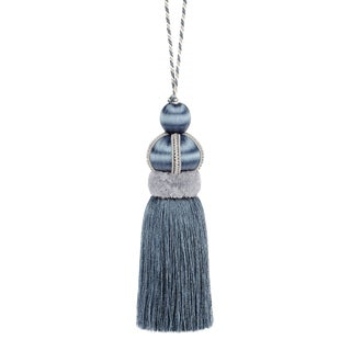 "Slate Blue Key Tassel With Cut Ruche -Tassel Height - 5.75"" For Sale"