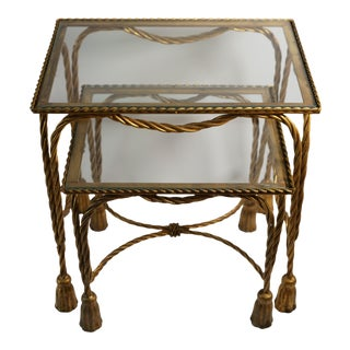 Vintage Hollywood Regency Gold Rope Tassel Nesting Tables - Set of 2 For Sale