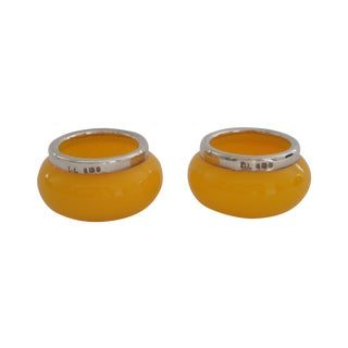 1925 English Salt Cellars, Yellow Glass & Sterling Silver For Sale