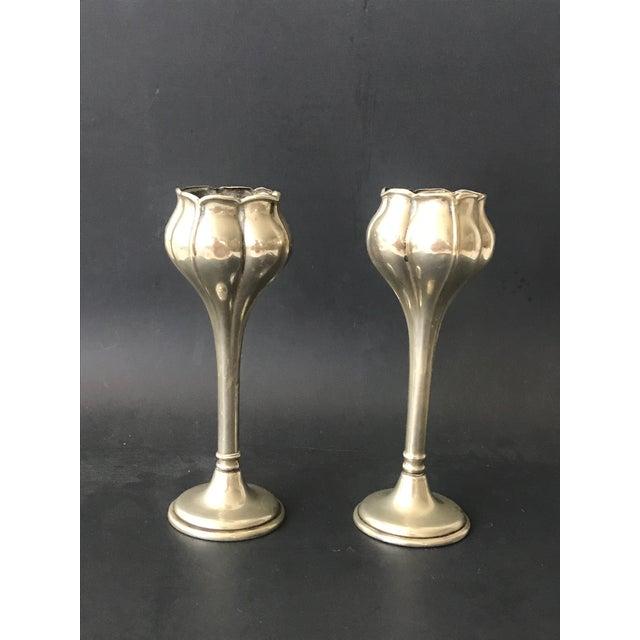 Silver Art Nouveau Bud Vases - a Pair For Sale - Image 8 of 8