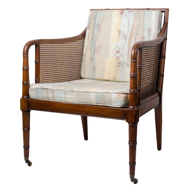 White 1960s Regency Hickory Chair Co. Bamboo & Cane Chair For Sale - Image 8 of 8