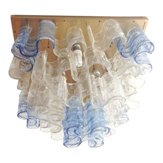 1960s Italian Murano Glass Waves Chandelier or Flush Mount For Sale