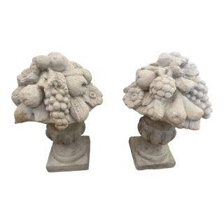 Vintage Mediterranean Gray Cement Garden Fruit Basket Ornaments - a Pair For Sale
