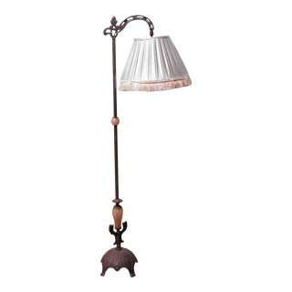 Bronze Floor Lamp With Silver & Pink Fringed Shade For Sale
