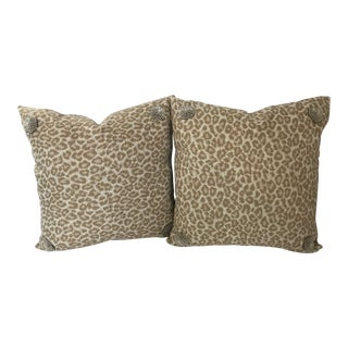 "Stroheim Indoor Outdoor Leopard Pattern Newly Custom Made 18"" Pillows - a Pair For Sale"