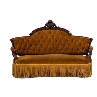 American Victorian Walnut Gold Upholstered Settee For Sale