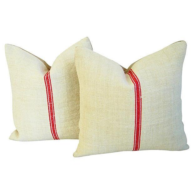 Vintage European Textile & Linen Pillows- A Pair - Image 1 of 6