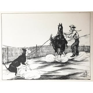 Western Calf Roping Pen Drawing by Keoke For Sale