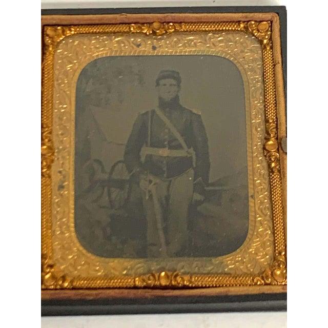 Civil War portrait, union solider in landscape in 'Union' Gutta Percha case Rare and unusual, the Ambrotype of a Union...