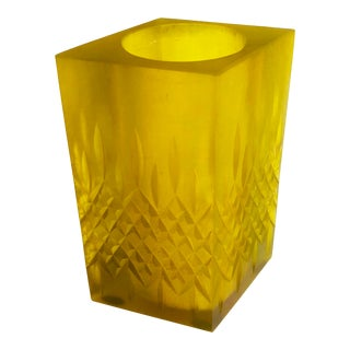 Mid Century Sascha Brastoff Yellow Resin Candle Holder or Vase For Sale