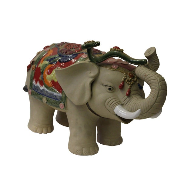 Asian Asian Detail Handmade Ceramic Elephant Trunk Holding Ru Yi & Power Dragon Decor Back Rest For Sale - Image 3 of 7