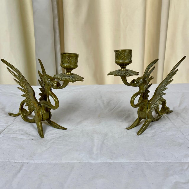 Early 20th Century Brass Dragon/Griffin Form Candle Holders - a Pair For Sale - Image 10 of 10