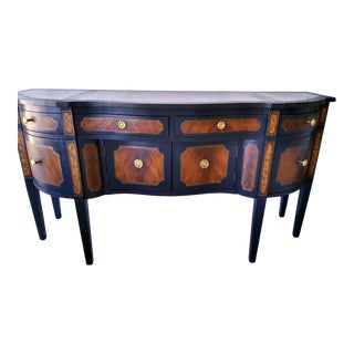Henkel Harris Style Mahogany Navy Blue and Tortoiseshell Style Classic Hepplewhite Sideboard Buffet For Sale