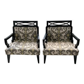 Vintage Black and Gray Ikat Hollywood Regency Style Chairs - a Pair For Sale