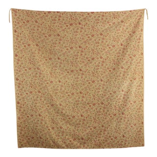 Vintage Fabric French 1920-1930 Curtain Lovely Small Scale Floral Design For Sale