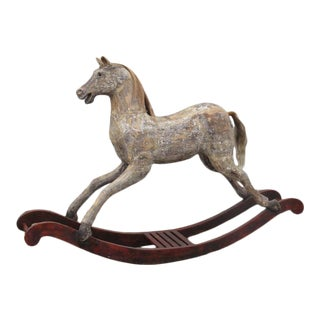 Large 19th Century English Wooden Rocking Horse For Sale