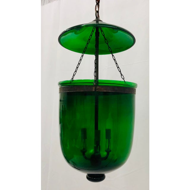 Chelsea House Inc Traditional Green Glass Bell Jar Pendant For Sale - Image 4 of 13