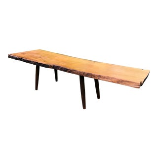 Live Edge Coffee Table Mid Century Style For Sale