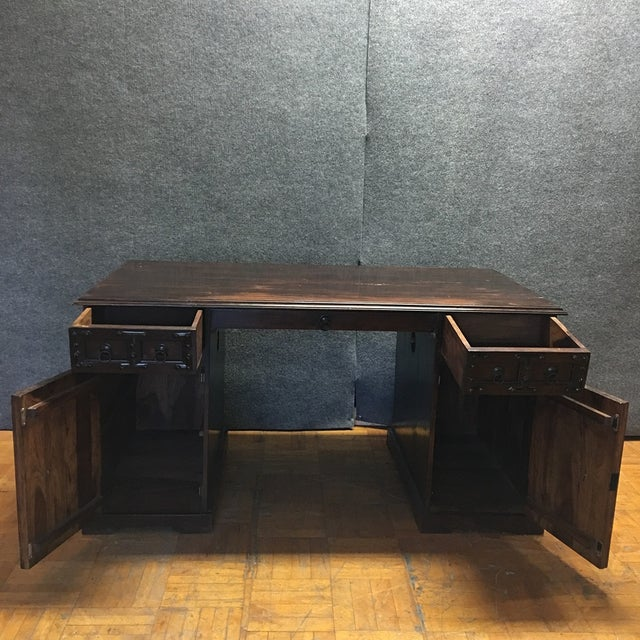 Dark Wood & Iron Gothic Desk For Sale In Los Angeles - Image 6 of 11