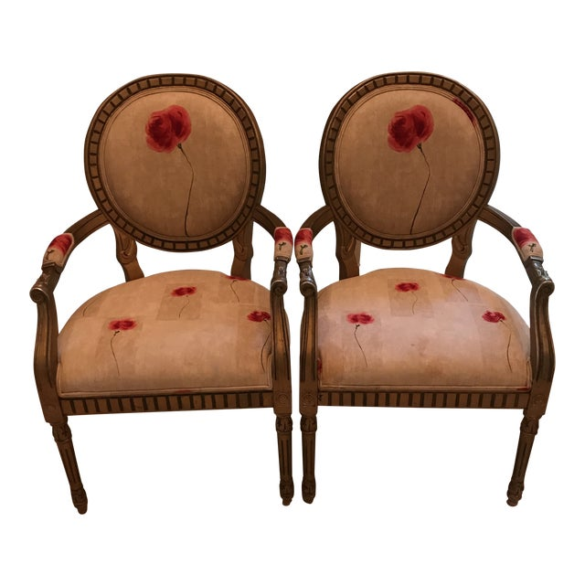 Rose Upholstered Arm Chairs - A Pair For Sale