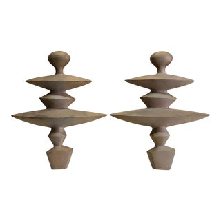 Modern Alberto Giacomatti Style Solid Bronze Andirons - a Pair For Sale