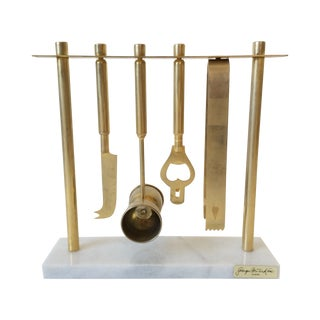 Georges Briard Brass & Marble Bar Tool Set