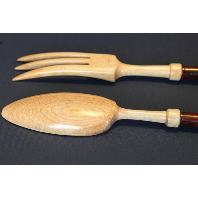 Wooden Salad Fork & Spoon - A Pair For Sale - Image 4 of 5