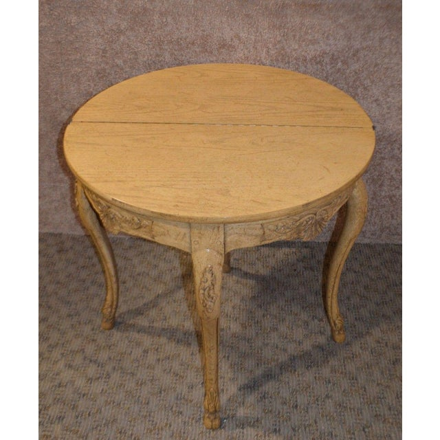 "Card Table Country French Style Distressed Ash Measurements: 32""W x 18""D x 30""H / Open: 36"" Round"