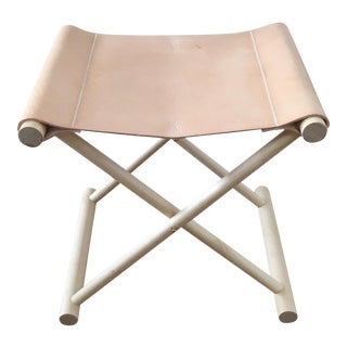 Director's Leather Folding Stool
