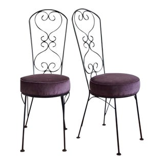Mid-Century Wrought Iron Bistro Chairs - A Pair