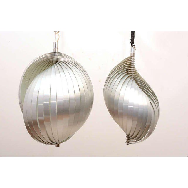 """Gray Mid Century Modern French Pendant Chandelier by Mathieu Lamp """"S"""" Shape For Sale - Image 8 of 8"""